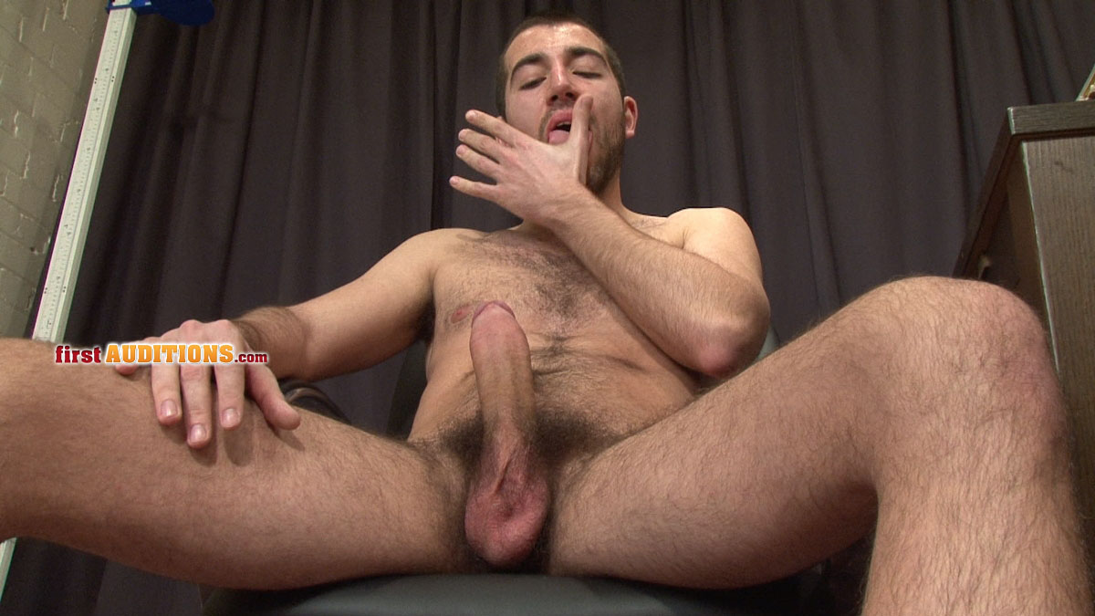 Big-Uncut-Cock-Jack-Off-FirstAuditions-Lukas-13 Huge Hairy Uncut Cock With Foreskin Jacks Off and Busts a Hot Load of Cum