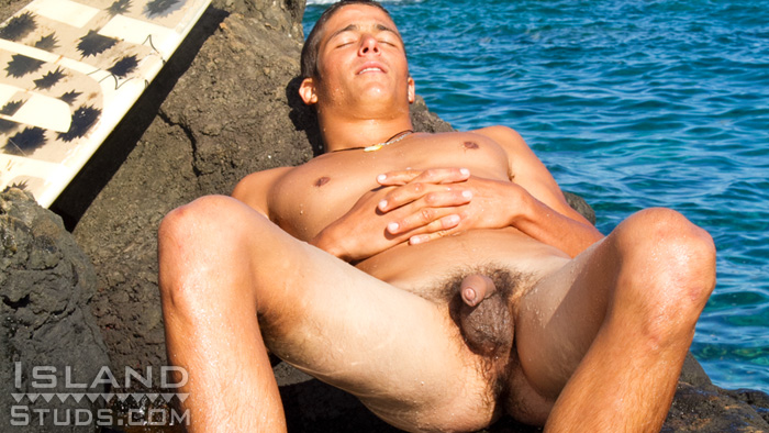 Island-Studs-Luke-Naked-Uncut-Surfer-Gay-04 Uncut Amateur Straight Surfer Shows Off His Big Uncut Cock