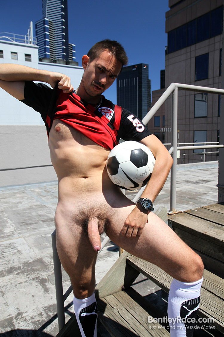 BentleyRace-GustavoDiaz-big-uncut-cock-18 Aussie Soccer Play Strokes His Big Thick Uncut Cock