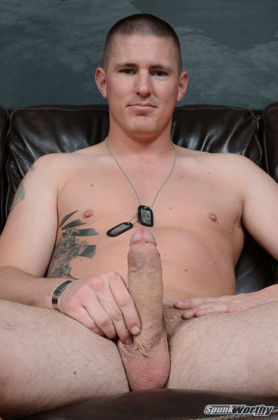 SpunkWorthy Eli Straight Marine With Big Uncut Cock Masturbating Jerking Off 06 Real Straight Marine With Huge Uncut Cock Shoots His Cum Load