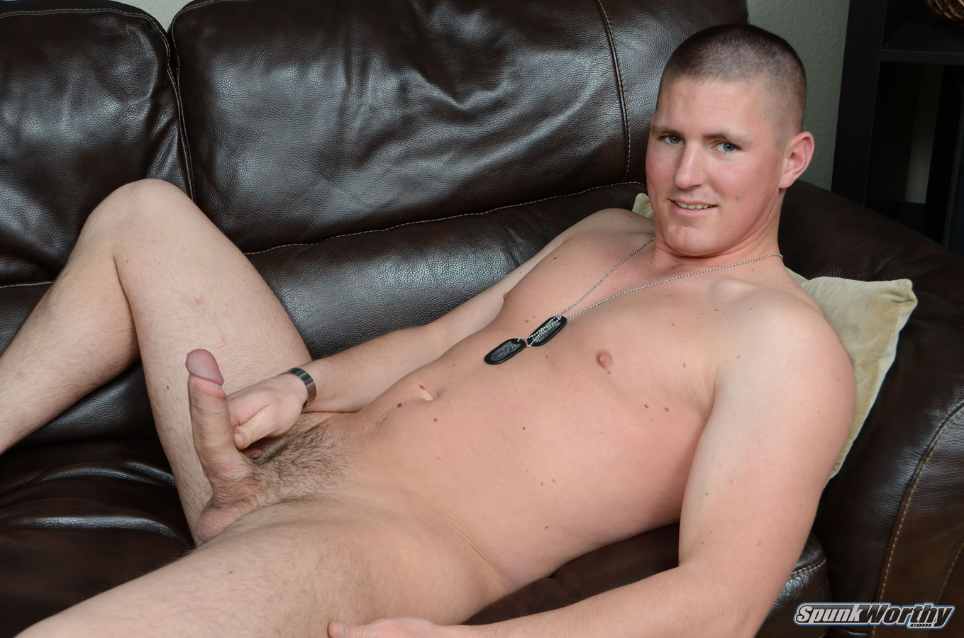 SpunkWorthy Eli Straight Marine With Big Uncut Cock Masturbating Jerking Off 16 Real Straight Marine With Huge Uncut Cock Shoots His Cum Load