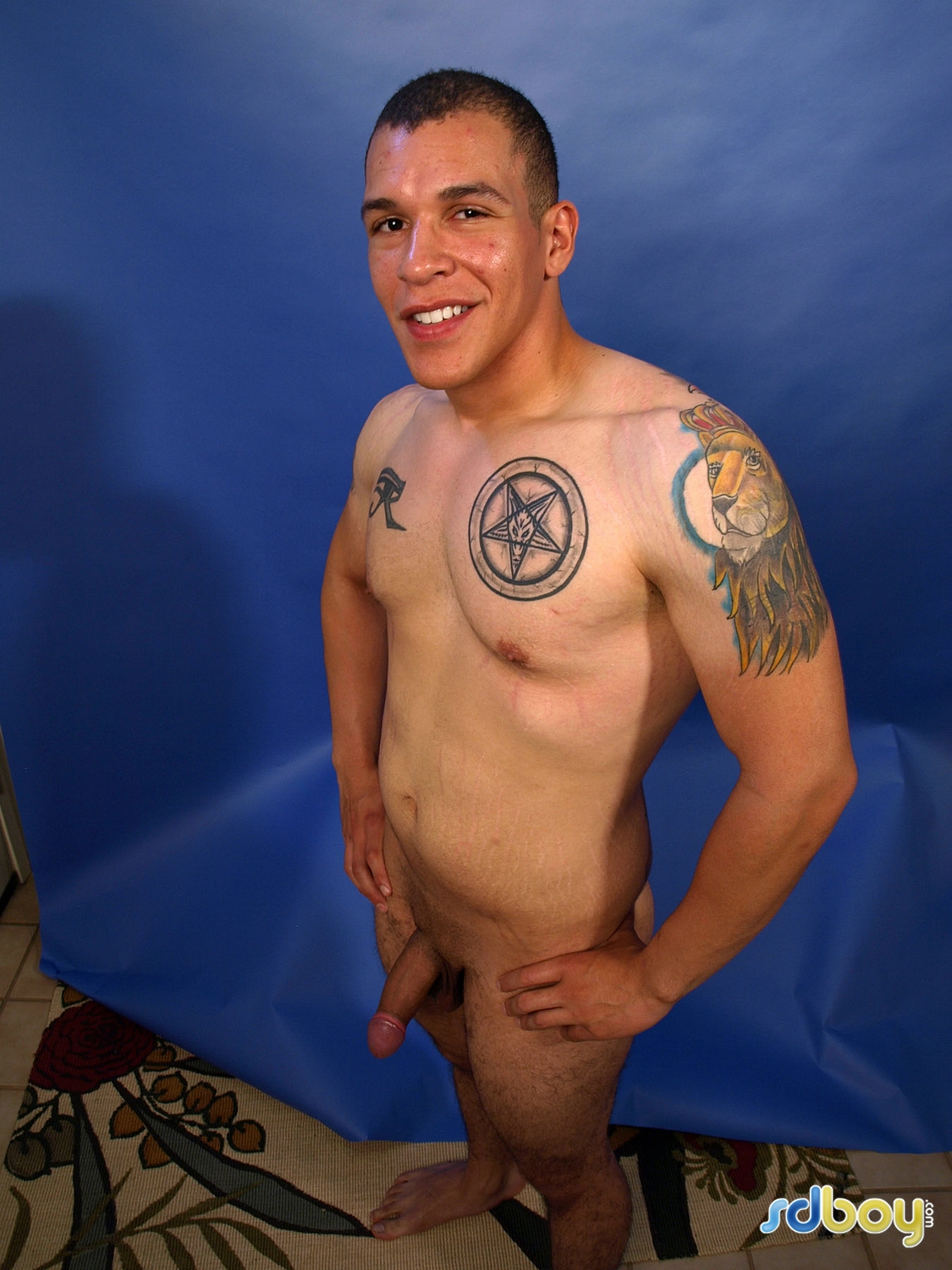 SD Boy Ray Sosa Big Uncut Cock Latino Marine Masturbating Amateur Gay Porn 05 Amateur Gay Latino Marine Shows His Tatts and Jerks His Uncut Cock