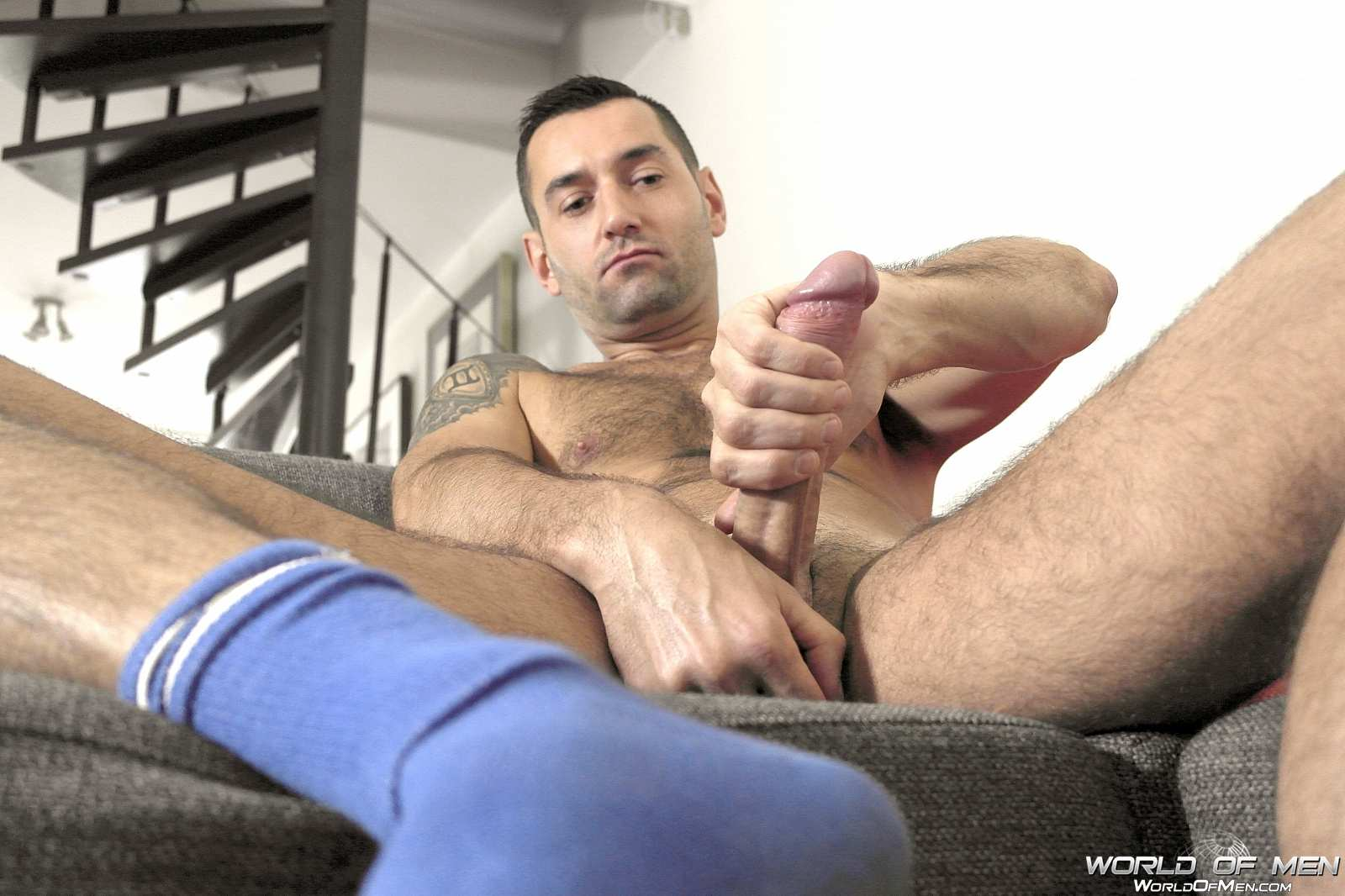 World Of Men Chris ADam Big Uncut Cock Jerk Off Masturbation Amateur Gay Porn 03 Hairy Sexy Stud Fingers His Ass And Plays With His Huge Uncut Cock