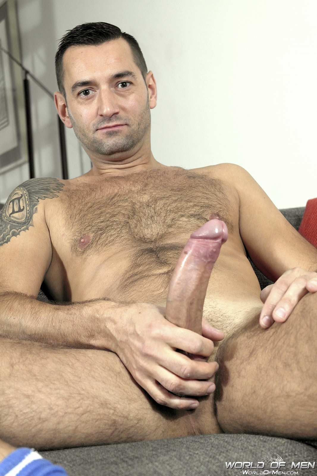 World Of Men Chris ADam Big Uncut Cock Jerk Off Masturbation Amateur Gay Porn 11 Hairy Sexy Stud Fingers His Ass And Plays With His Huge Uncut Cock