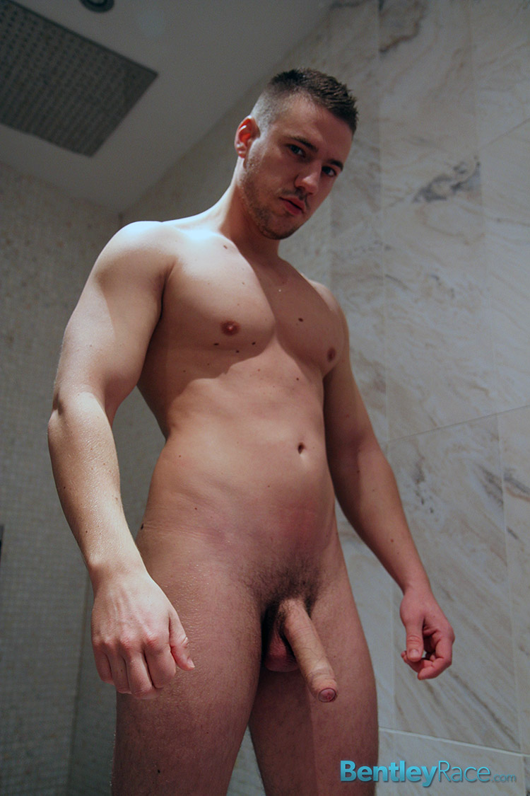 Bentley Race Jeffry Branson Big Thick Uncut Cock Masturbating Shower Amateur Gay Porn 11 Jeffry Branson: Athletic Jock Jerks His Big Thick Uncut Cock In The Shower
