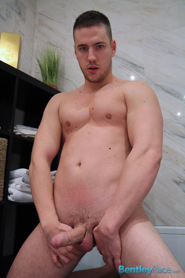 Bentley Race Jeffry Branson Big Thick Uncut Cock Masturbating Shower Amateur Gay Porn 13 Jeffry Branson: Athletic Jock Jerks His Big Thick Uncut Cock In The Shower