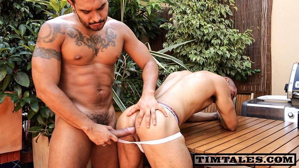 TimTales Lucio Saints and Alejandro Dumas Big Uncut Latin Cocks Fucking Amateur Gay Porn 02 Lucio Saints Fucks A Muscle Powerbottom and Paints His Face With Cum
