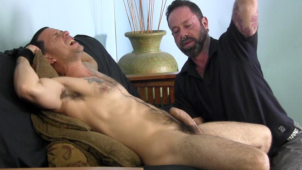 Guy sucks his first cock