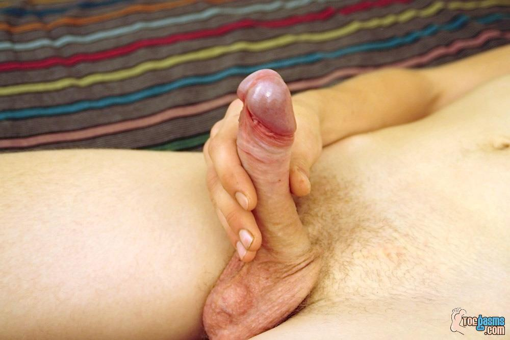 Toegasms-Honza-Twink-With-Big-Uncut-Cock-Foot-Fetish-Amateur-Gay-Porn-14 Foot Fetish Twink Jerks A Load on His Feet From His Big Uncut Cock