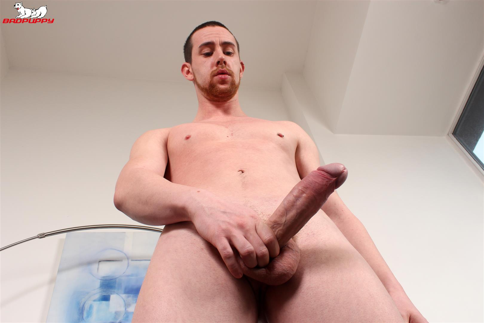 Badpuppy-Anthony-Naylor-Big-Uncut-Cock-Masturbation-09 Sexy British Amateur Plays With His Big Uncut Horse Cock