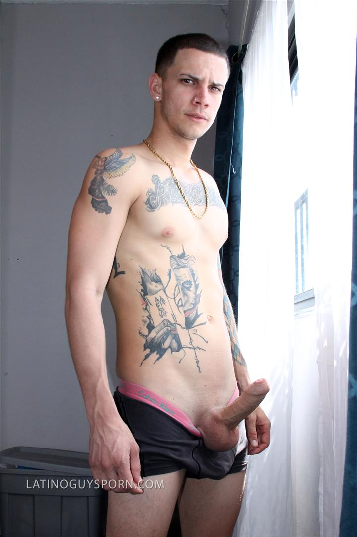 Latino-Guys-Porn-Olaf-Big-Uncut-Cock-Masturbation-Video-1 Tatted Up Young Latino Stud Jerks His Big Uncut Cock