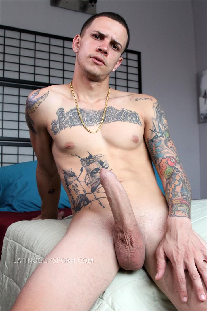 Latino-Guys-Porn-Olaf-Big-Uncut-Cock-Masturbation-Video-2 Tatted Up Young Latino Stud Jerks His Big Uncut Cock