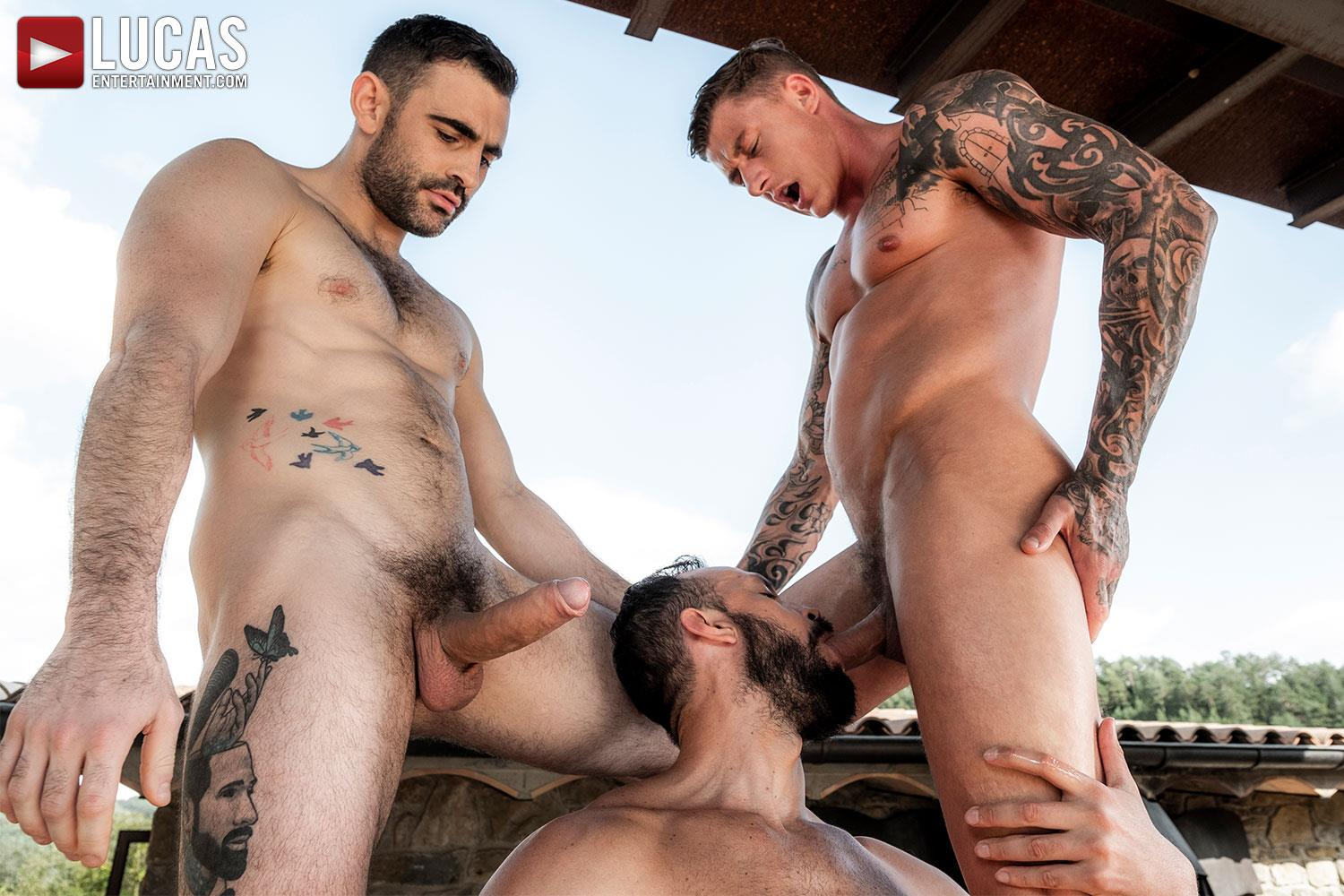 Lucas-Andy-Onassis-and-Geordie-Jackson-and-Max-Arion-Huge-Uncut-Cocks-Bareback-06 Bareback Outdoor Threesome Featuring Three Huge Uncut Cocks